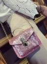 Cadeia Couro Moda lantejoulas PU Mulheres pequeno Crossbody Bag
