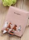 Women PU Leather  Embroidery Cute Card Cash Holder Zipper Coin Purse
