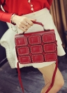 Moda donna borsa a tracolla PU pelle rivetto Flap magnetico Press Stud Shoulder Bag Handbag