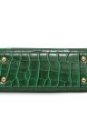 Europa Moda feminina PU Handbag Crocodile Ribbon Pattern Puxador Fechadura Tote Shoulder Messenger Bag Preto Verde / Dark