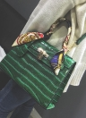Crocodile Pattern Ribbon Handle Lock PU Handbag