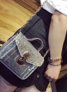 Moda lentejuelas PU de la cadena del cuero de las mujeres Pequeño bolso crossbody