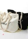 New Fashion Women Canvas Letter Bolsa Impressão de Grande Capacidade Casual Ombro Saco de Compras Tote preto / branco