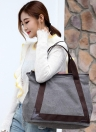 Fashion Women Canvas Casual Vintage  Tote PU Leather Handbags