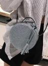 Moda Feminina Rodada Crossbody Bag Lantejoulas PU Couro Círculo Mini Bolsa de Ombro Bolsa Cinza / Prata