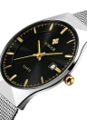 WWOOR Fashion Stainless Steel Calendário Quartz Water-Resistant Men Watch & Spinner