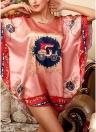 Женщины Версия для печати Версия для печати Batwing Sleeve Nightgown Round Neck Silk Satin