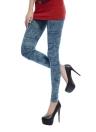 Women Faux Denim Jeans Printed Skinny Trousers Leggings