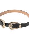 New Mulheres Moda Couro Cintura cinto de metal fino Vintage Duplo Buckle Strap cintura Cintura