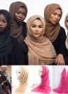 Moda Mulheres Hijab Bubble Plain Lenço Longo