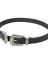 Double Metal Buckle Leather Waist Belt