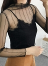 Sexy Sheer Mesh Thin Lace Long Sleeve Women's Bodycon Top