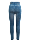 Mulheres Faux Denim Jeans Printed Skinny Trousers Leggings