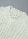 Las nuevas mujeres suéter de punto de cable sólido acanalado cuello en V camiseta manga Casual puente rosado / Caqui / Negro