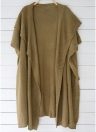Mulheres Loose Sweater Cardigan Open Front Batwing Sleeve Solid Split Knitted Outerwear