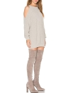 Knit Off Shoulder O-Neck Long Sleeve Tunic Women's  Sweater Dress