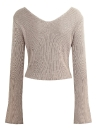 Women  Sexy Off The Shoulder cropped  V Neck Flare Sleeve  Pullover Knitwear