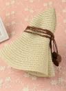 Las mujeres sombrero de paja de las hojas del borde grande ancho plegable flojo ocasional del verano de la vendimia de la playa Cap de color caqui