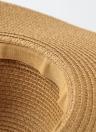Las mujeres de moda de verano de paja de ala ancha sombrero flojo del arco plegable de Sun Beach Holiday Casual Cap Beige / de color caqui / café