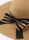 Été Mode féminine Chapeau de paille mou Large Brim Bow Pliable Sun Holiday Beach Casual Cap Beige / Kaki / Café