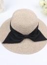 Mujeres de moda Sun Hat Big Bow de ala ancha sombrero de paja plegable Summer Beach protección solar gorra