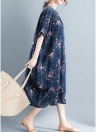 Femmes Floral Imprimer Loose Dress Side Pocket Baggy longue robe