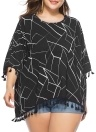 Women Plus Size Blouse Contrast Irregular Geometric Patterns Print  Fringe  Long Tops