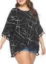 Camicetta donna taglie forti Contrasto Motivi geometrici irregolari Stampa frange lunghe