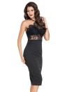 Nova Europa mulheres vestido Hollow fora do laço Spaghetti Strap Backless Zipper Sexy clube Mini vestido Black
