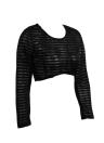 Women Stripe Long Sleeve Crop Top