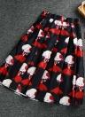 Nova moda mulheres Midi saia garota impressão cor bloco elástico cintura alta a linha saia plissada de bonito preto/bege