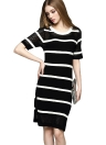 Elegant Contrast Stripe Round Neck Short Sleeve Hollow Out  Sweater Dress