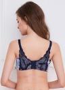 Neue Sexy Frauen BH Kontrast geometrische Print Lace zurück 3/4 Tasse gepolsterte Draht kostenlose Push-Up-nahtlose BH lila / Orange
