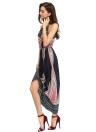 Le nuove donne Fashion Dress Cami geometrica della stampa del modello Color Block annodare scollatura maniche Maxi casuale di un pezzo blu scuro