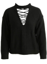 Lace Up Strap Plunge V Front Dropped Shoulder Sweater
