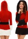 Сексуальные женщины 3 шт с капюшоном Санта Костюм бархата уравновешивания шерсти поясной ремень ботинка крышки Кристмас платья Performance Равномерное черный / белый