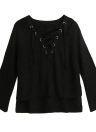 Autumn Winter  Sweater Flare Sleeve Lace Up V-Neck Women's  Pullover