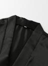 Las mujeres atractivas sedoso manga flare vestido de la ropa interior de encaje recortar satinado con cinturón Chemise Kimono ropa de dormir