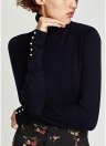 Chic Women Knitted T-Shirt Pearl Beads Long Sleeve Turtleneck Basic Shirt Stretchy Tees Slim Tops