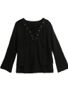 Frauen schnüren sich mit V-Ausschnitt Flare Sleeve Sweater