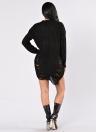 Mulher rasgada O Pescoço manga comprida manga desgastada Irregular Pullover Sweater Dress