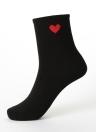 Nueva muchacha de las mujeres Calcetines sólido en forma de corazón de impresión elástico transpirable deporte ocasional calcetines largos