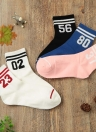 Nuevos muchacha de las mujeres Calcetines Rayas de la letra impresa respirable ocasional del deporte elástico calcetines largos