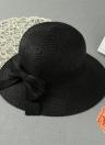 Las nuevas mujeres del arco del sombrero de paja de ala ancha playa Sólido verano casquillo de Sun Floppy Trilby Sombrero Negro / Beige / Rosa