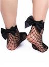 Fashion Women Harajuku Bow Knot Fishnet Socks Breathable Mesh Hollow Out Net Ankle Socks