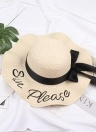 Fashion Women Letter Embroidery Straw Hat Wide Brim Outdoor Foldable Beach Shade Sun Hats