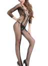 Mulheres Lingerie Fishnet Jumpsuit Sheer Bodysuit Backless Stretch Slim Nightwear