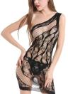 Las mujeres ahuecan la ropa interior del vestido del sueño Sheer Mesh Lace Babydoll Dress Nightwear Sleepwear