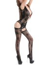 Women Lingerie Open Crotch Bodystockings Bodysuit Hollow Out Lace Mesh Erotic Nightwear Sleepwear