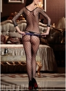 Sheer Mesh Lingerie Bodystockings Hollow Out Bodysuit Erotic de manga comprida Crotchless